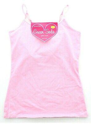 Green Soda Girls Youth Cotton Spandex Cami Tank Top with Shelf Bra Pink XL/16