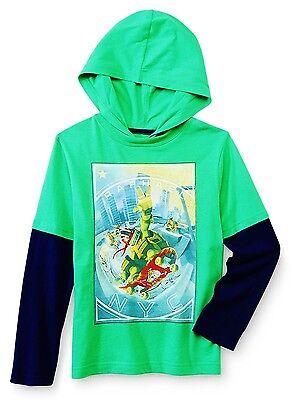 Ninja Turtles Raphael mit Kapuze Kostüm Hemd Langarm T-Shirt Nwt Size 4 Or 5/6 ()