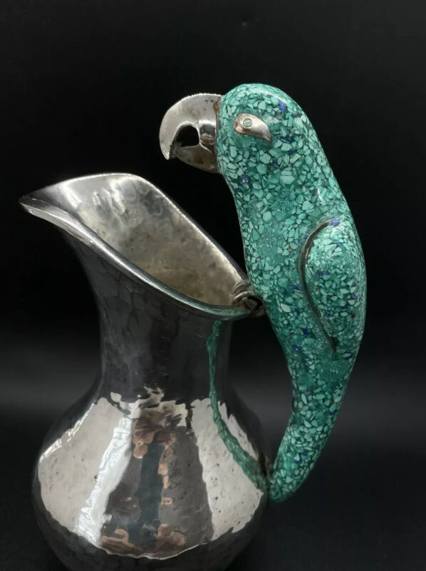 Mexican Silver Pitcher with Green Parrot Handle