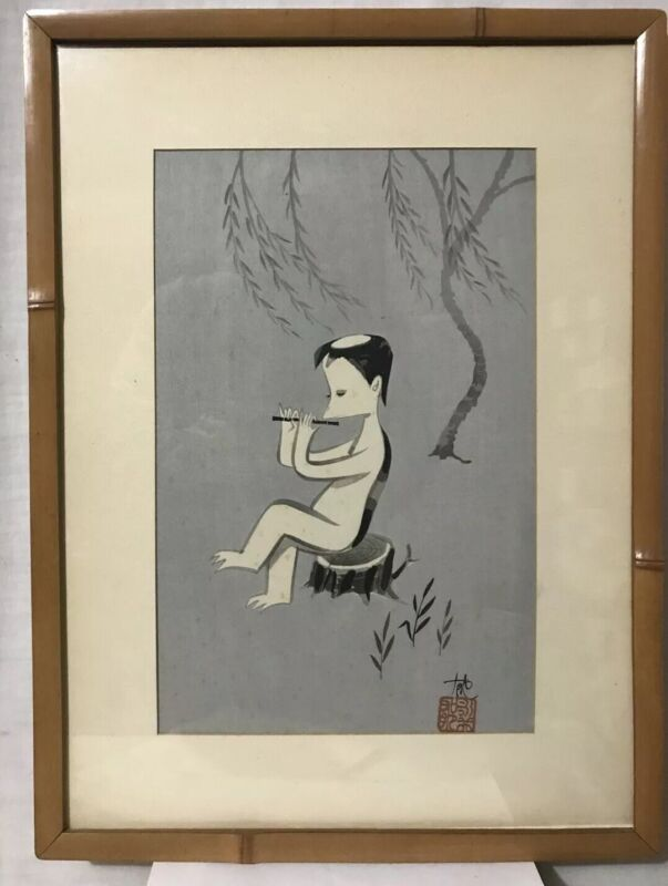 Vintage Signed Japanese 3 Toed Sloth Watercolor Painting