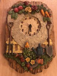 Wooden Clock Country Kitchen Flowers, fruit, vegetables,garden Background. Works