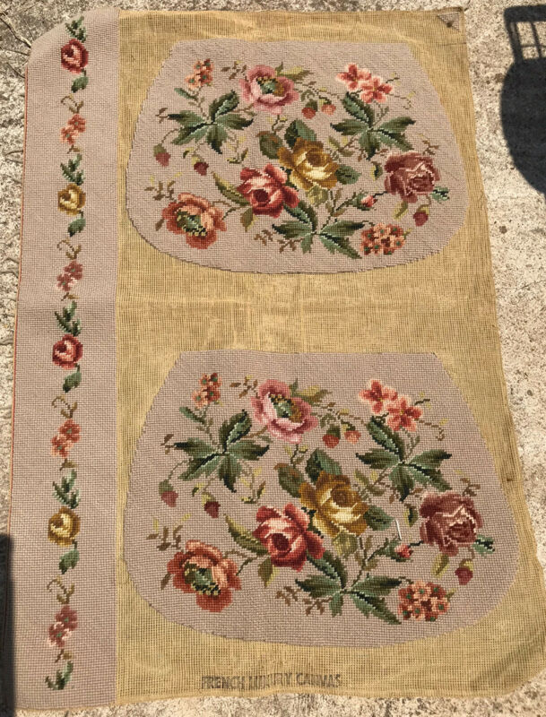 Vintage Rose Floral Foliage Needlepoint Purse Panel Finished~ French Canvas