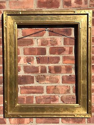 1930's Arts & Crafts Hand Carved Gilded Newcomb Macklin Style Picture Frame