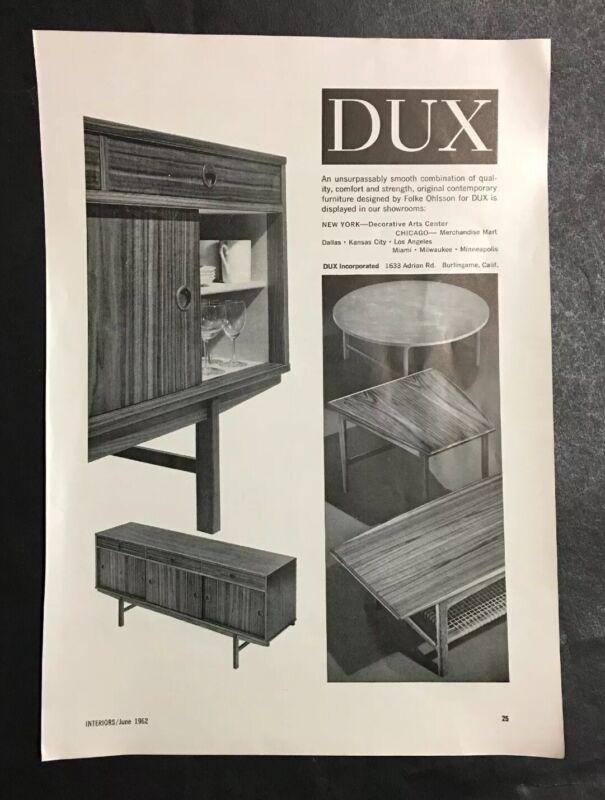 Vintage 1962 Folke Ohlsson DUX Mid Century Modern Contemporary Furniture Ad