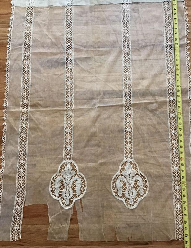 "Antique Curtain Panel 45x34"" With Reusable Insertion & Edge Lace/ Net & 2 Motifs"