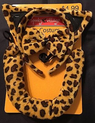 Brown Leopard 3 pc Halloween Costume Set Girls Ears, Tail, Bow Tie OSFM - - Leopard Halloween Ears