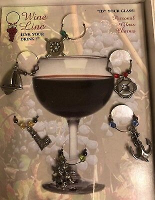 Personal Wine Glass Charms Marine - Personalized Wine Glass Charms