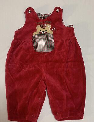 Vintage Osh Kosh Bgosh Baby Girl Jumper Christmas Bear Red Size 3-6 Months