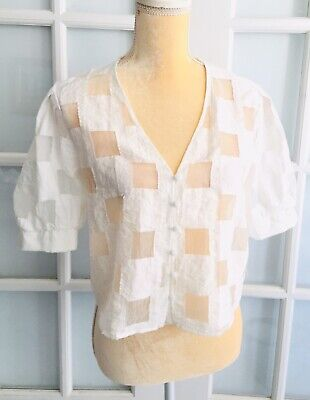 NWOT ZARA Woman White MATCHING PLAID TOP Short Sleeve Crop Size L  О1750L