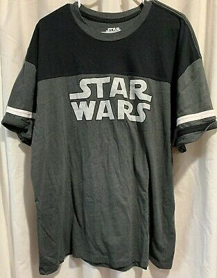 Star Wars Black White Gray 2XL T Shirt Short Sleeve Soft Logo  (Star Wars Tshirts)