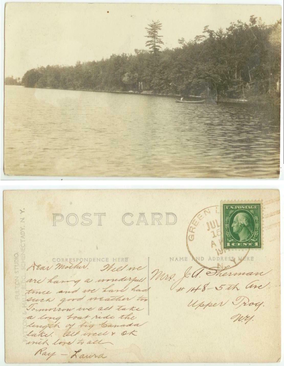 1914 Green Lake New York Real Photo - Posted - DPO 1907-34 Fulton County - $10.00