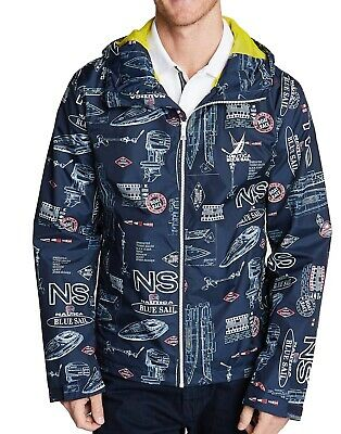 Nautica Mens Jackets Blue Size Small S Printed Hooded Windbreaker $118 054