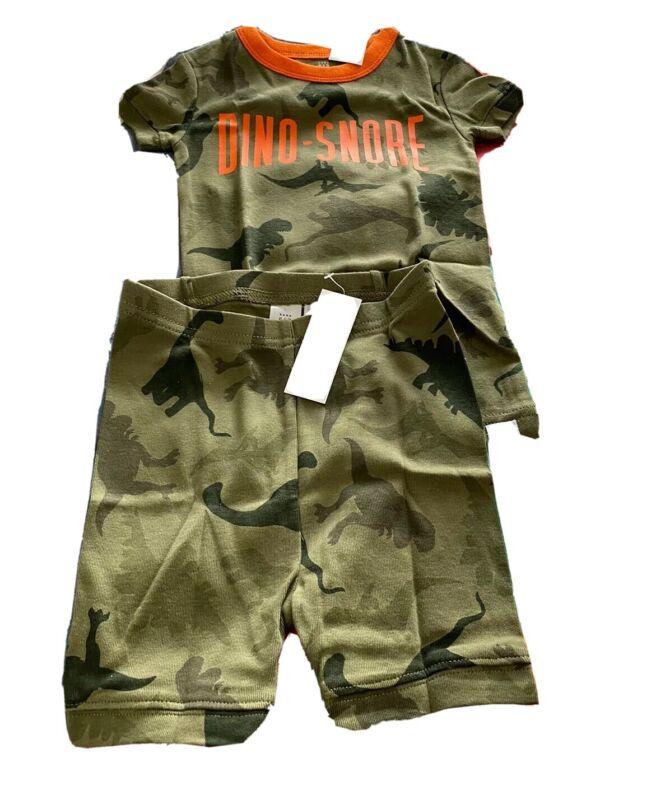 Baby GAP 2 piece set Short Sleeve & Shorts Dino-snore Green Boys Pajama Set 3t