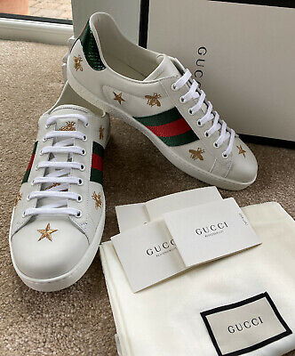 Gucci Ace Embroidered Low Top Sneaker Shoes Uk10 Eu44 Star Bee White Leather New