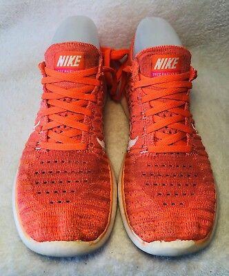 Nike Free Run Fly Knit Shoes Women's Hyper Orange White Running US 6 UK 3.5