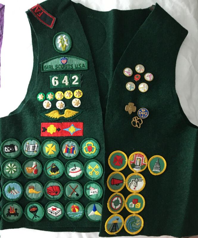 Vintage Cadette/Senior Girl Scout Vest-Badges/Patches/Pins-1970