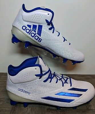 best service 0f7e7 f34b7 New Adidas adizero 5-Star 5.0 MID Football Cleats BlueWhite AQ8746 Mens  Sz 9.5