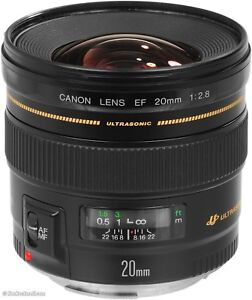 Used Canon 20mm f/2.8 lens for sale. Good condition