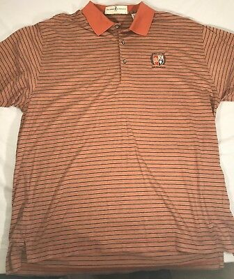 Fairway & Greene Golf Polo Shirt XLarge  Orange Stripes Cotton Oak Ridge CC Oak Ridge Stripes