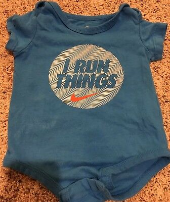"""Nike Boys 6-9 Month One Piece Outfit Bodysuit Blue """"I Run Things"""" Short Sleeve - Thing One Outfit"""
