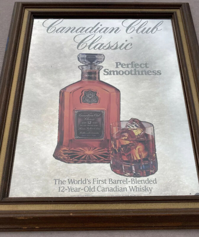 Worlds First Barrel Blend Whiskey Canadian Club Bar Mirror Sign Advertising EUC
