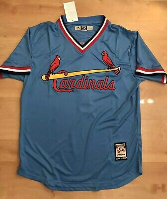 Ozzie Smith St. Louis Cardnials Jersey #1 light Blue pullover Men's throwback V ()