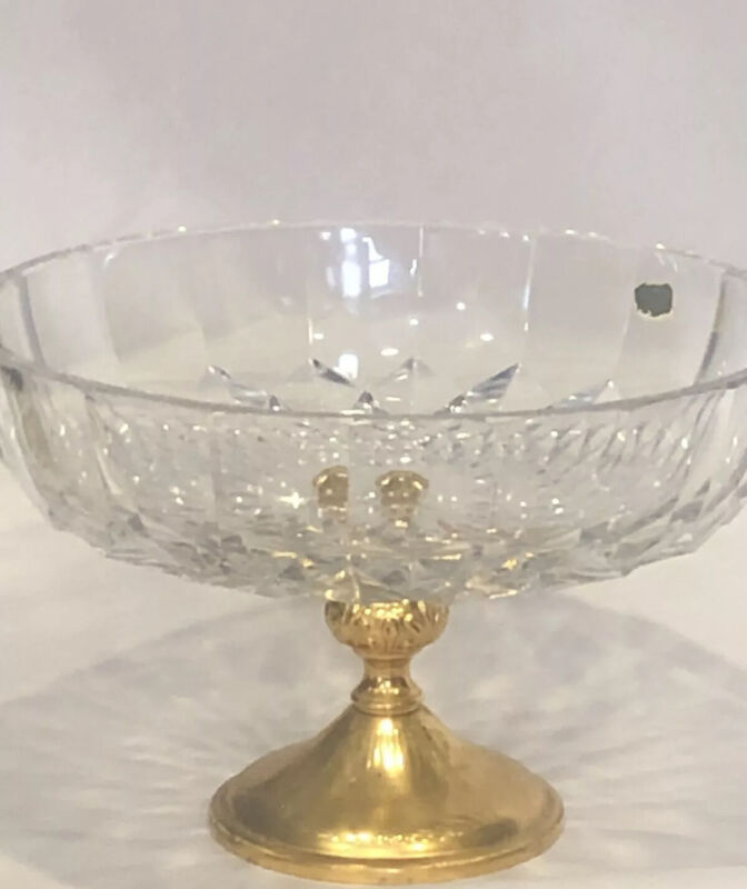VINTAGE SIGNED CRYSTAL COMPOTE FRUIT BOWL GOLD METAL BASE MADE IN ITALY