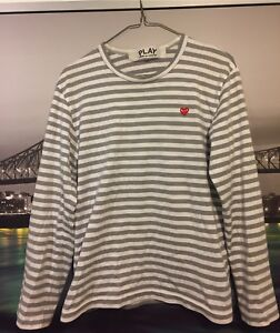 CDG Play Grey Long Sleeve Size Small