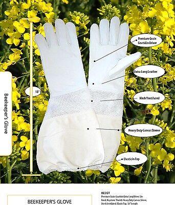 Premium Ventilated Goatskin Beekeeping Gloves Size L
