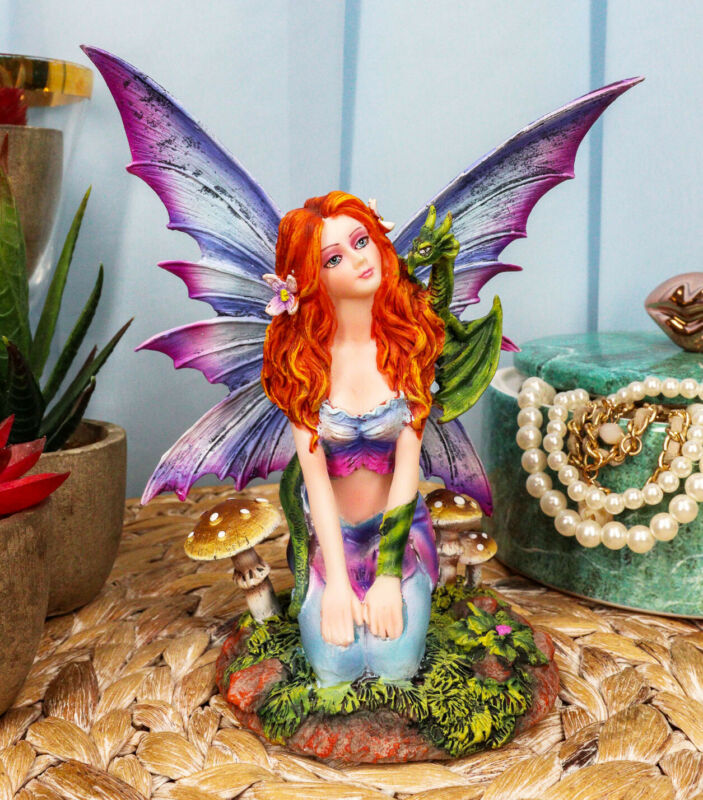 Fantasy Purple Butterfly Winged Red Hair Fairy with Green Pet Dragon Figurine