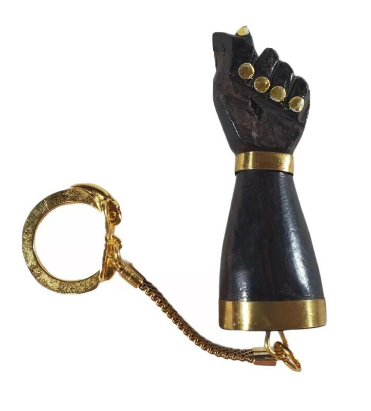 Vtg Brazilian Carved Wood Figa Fist Keychain Amulet Good Luck Charm Gold Tone