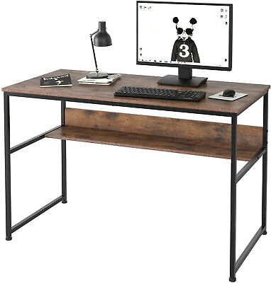 Computer Home Office Desk Drawer,47″ Small Desk Table with Storage Shelf (Brown) Furniture