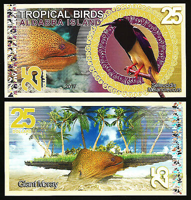 Aldabra Island 25 Dollars 2017 Unc   Tropical Birds