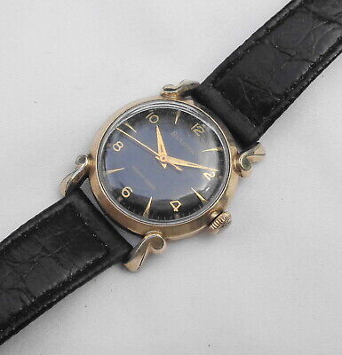Vintage 1956 Men's Bulova Selfwinding Wristwatch 10K RGP & Stainless Black Dial