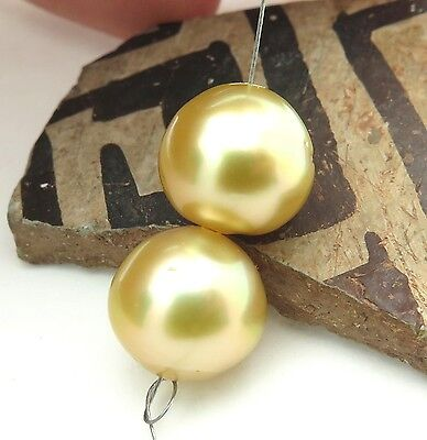 RARE AAA SOUTH SEA SHINING IRIDESCENT GOLD 10.6mm+ CULTURED PEARL PAIR