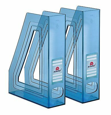 Acrimet Magazine File Holder Clear Blue Color 2 - Pack