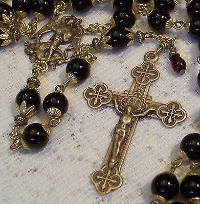 Rosary St Michael The Archangel 8mm Black Onyx Antique Bronze Design Handmade D