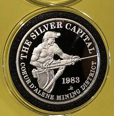 1983 Coeur D Alene Mining District Proof Round Coin 1 Troy Oz  999 Fine Silver