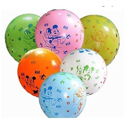 "10 X Mickey Mouse And Minnie Mouse Theme 12"" Latex Birthday Party Balloons"