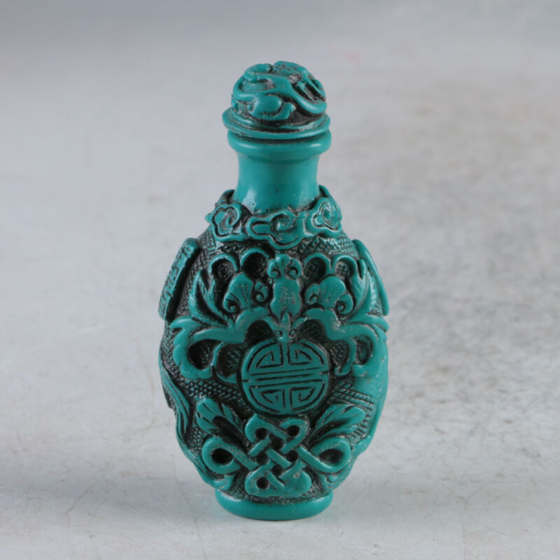 Old Chinese Turquoise Resin Hand Carved Decorate Pattern Snuff Bottle
