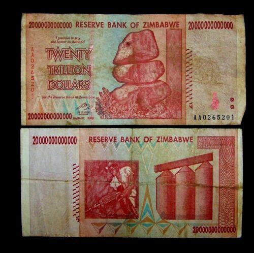 1 x Zimbabwe 20 trillion dollar banknotes-2008/AA  / Low grade circulated