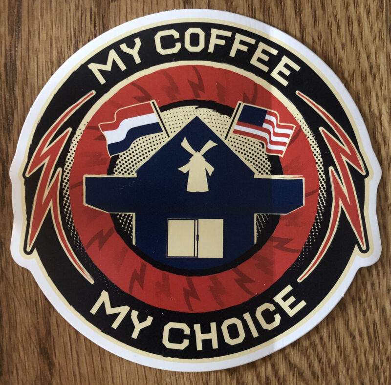 DUTCH Bros BROTHERS My COFFEE My CHOICE Unreleased STICKER FLAGS Rare OLD Design