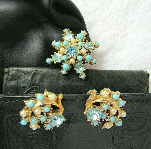Vintage Brooch Screw Earring Turquoise Starburst Rhinestones Faux Pearl