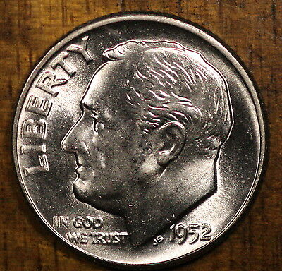 1952 P Roosevelt Dime CH BU LUSTER 90% Silver US Coin