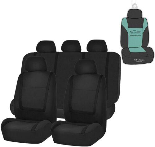 FH Group Unique Flat Cloth Car Seat Covers Black