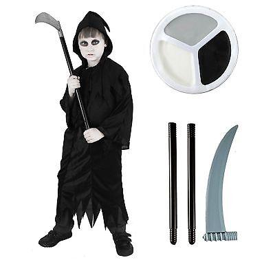 IL Child HALLOWEEN Grim Reaper Robe & Plastic Scythe Death FacePaint Fancy Dress (Halloween Face Paint Death)
