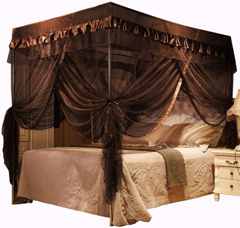 Mengersi 4 Corners Post Bed Curtain Canopy Canopies Bedroom Decoration (Queen, C