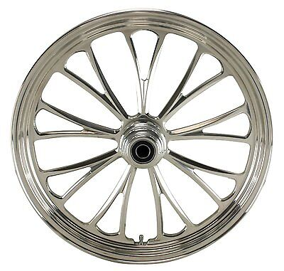 "Manhattan Polished CNC 21"" x 3.5"" Front Dual Disc Wheel for Harley/Custom Models"