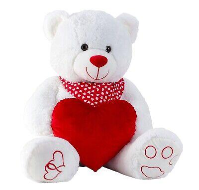 Riesen Teddybär Kuschelbär XXL 100 cm groß weiß mit Herz Plüschbär Kuscheltier