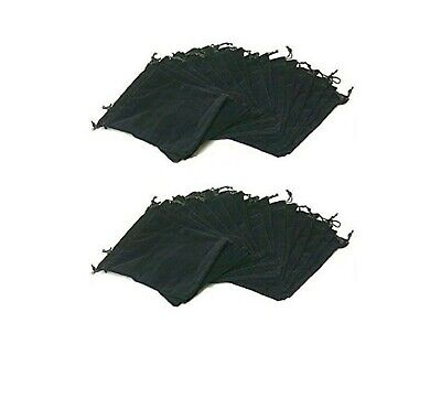 Drawstring Jewelry Bags Large 7 X 5 Pouches Black Velvet - Pack Of 25